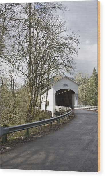 Pengra Covered Bridge Wood Print by John Higby