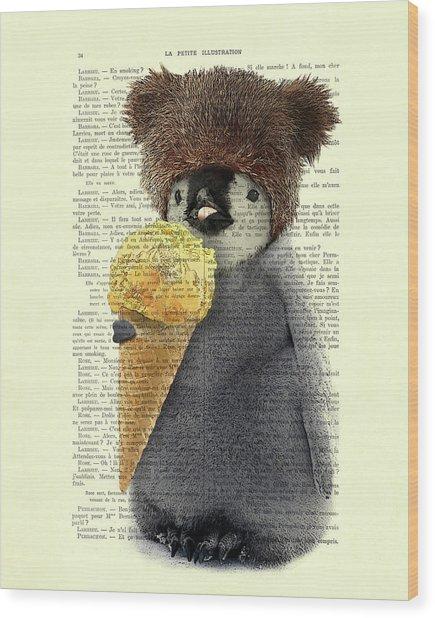 Penguin Ice Cream Wood Print