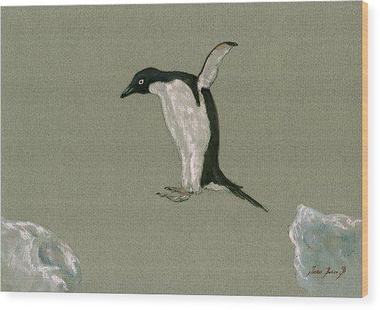 Penguin Jumping Wood Print