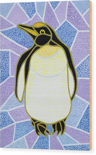 Penguin On Stained Glass Wood Print