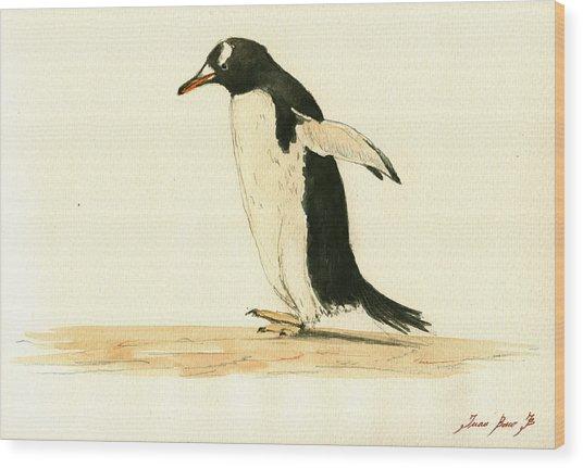 Penguin Walking Wood Print