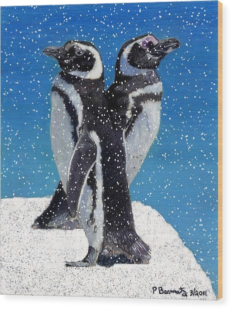 Penguins In The Snow Wood Print