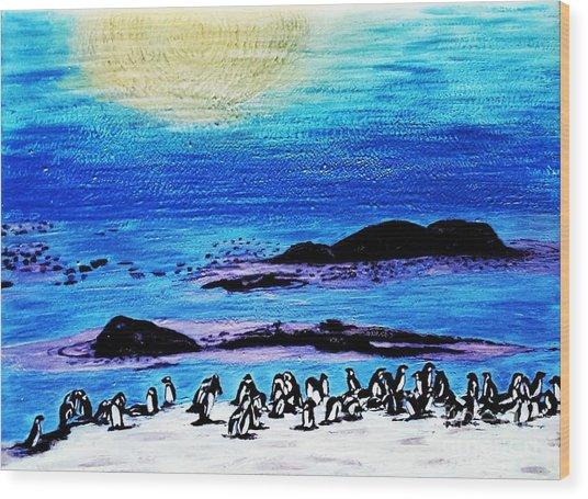 Penguins Land Wood Print