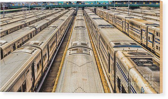 Penn Station Train Yard Wood Print