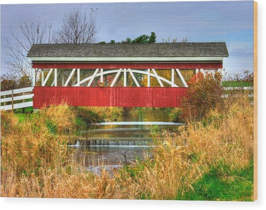 Pennsylvania Country Roads - Oregon Dairy Covered Bridge Over Shirks Run - Lancaster County Wood Print