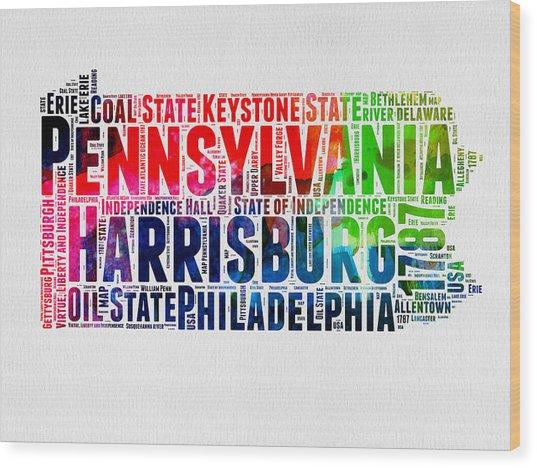 Pennsylvania Watercolor Word Cloud Map  Wood Print