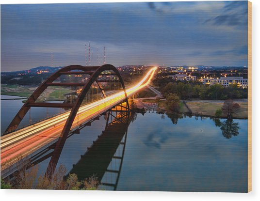 Pennybacker Bridge At Dusk Wood Print