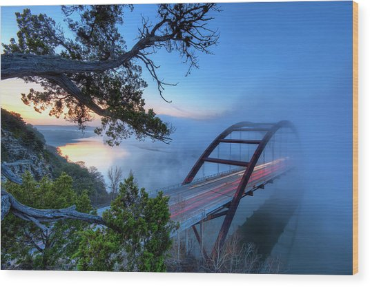 Pennybacker Bridge In Morning Fog Wood Print