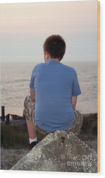 Pensive Beach Teen Boy 3 Wood Print