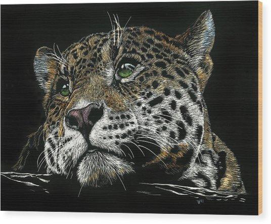Pensive Leopard Wood Print