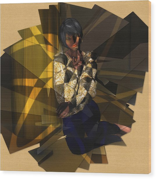 Pensive Woman Wood Print