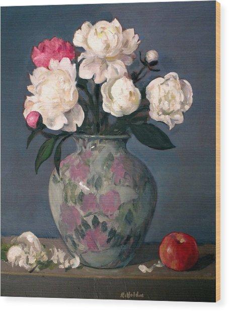 Peonies In Floral Vase, Red Apple Wood Print