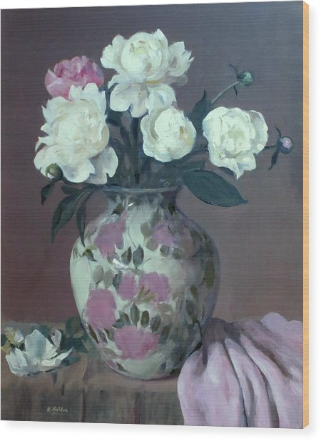 One Pink And Four White Peonies,lavender Cloth  Wood Print