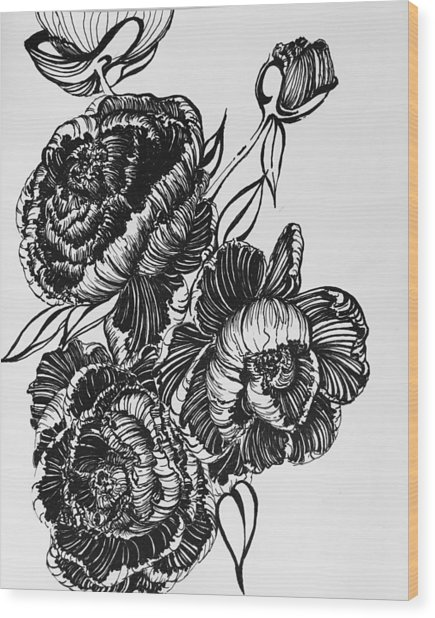 Peonies Line Drawing Wood Print