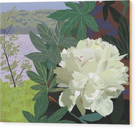 Peony By The Lake Wood Print by Marian Federspiel
