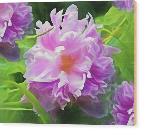 Wood Print featuring the mixed media Peony Cluster 7 by Lynda Lehmann