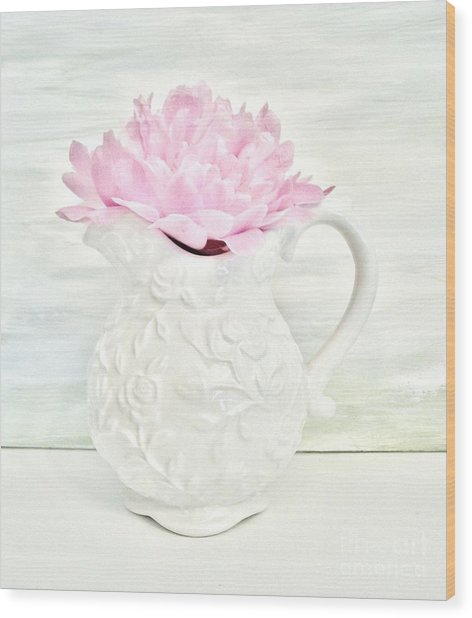 Peony In A Pitcher Wood Print