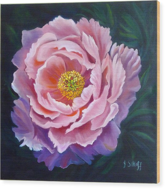 Peony Wood Print by Janet Silkoff