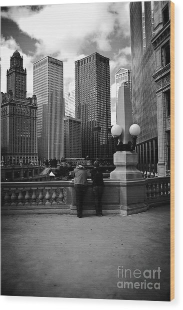 People And Skyscrapers Wood Print