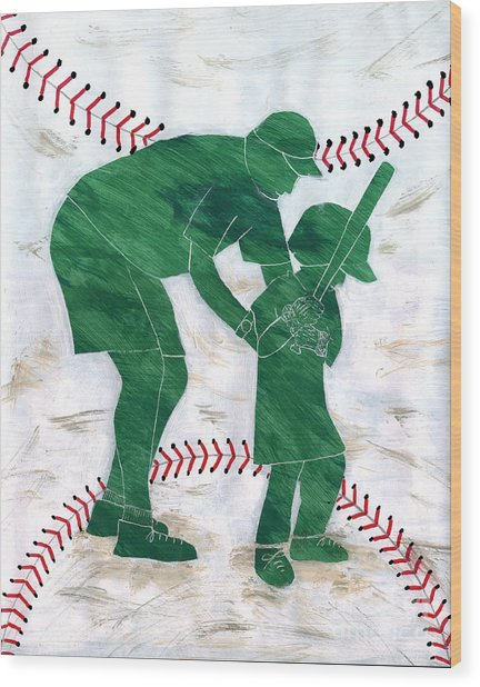 People At Work - The Little League Coach Wood Print