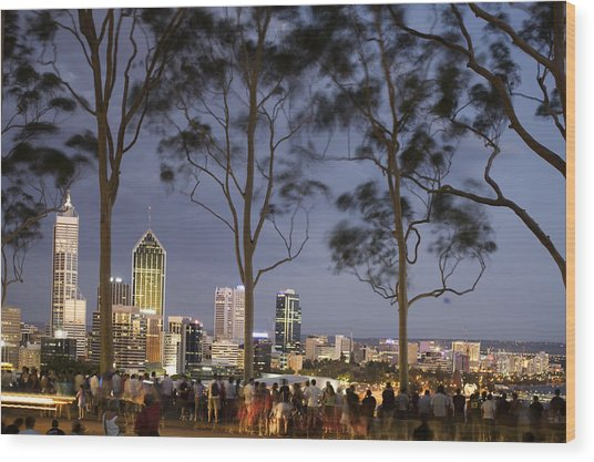 People In Kings Park Watching Fireworks On Australia Day With Perth Skyline In Background Wood Print by Orien Harvey