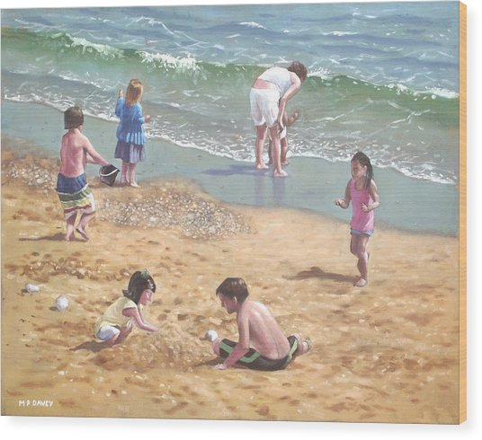 people on Bournemouth beach kids in sand Wood Print
