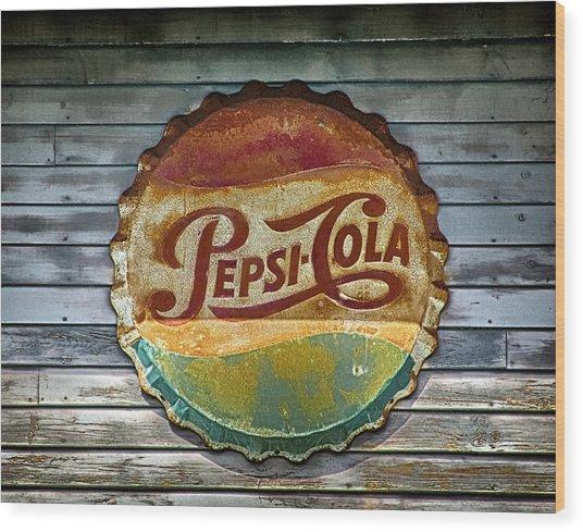 Pepsi-cola Sign Vintage Wood Print