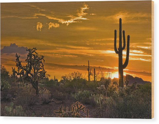 Peralta Arizona Sunset Wood Print