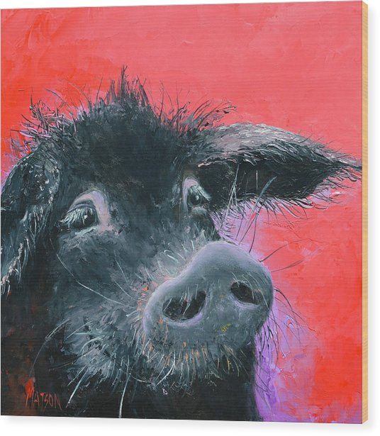 Percival The Black Pig Wood Print