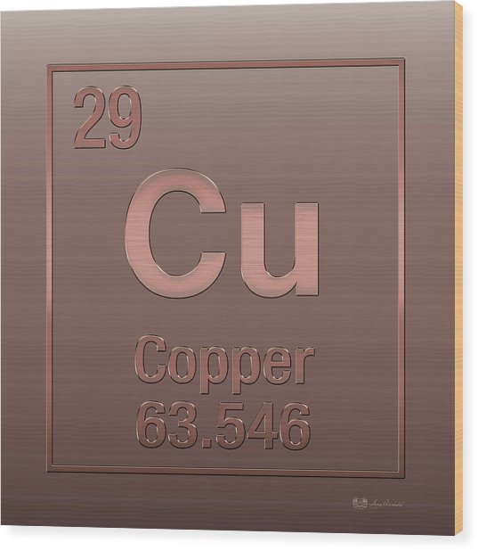 Periodic Table Of Elements - Copper - Cu - Copper On Copper Wood Print