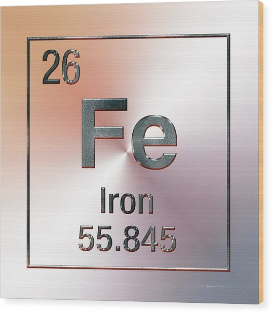 Periodic Table Of Elements - Iron Fe Wood Print