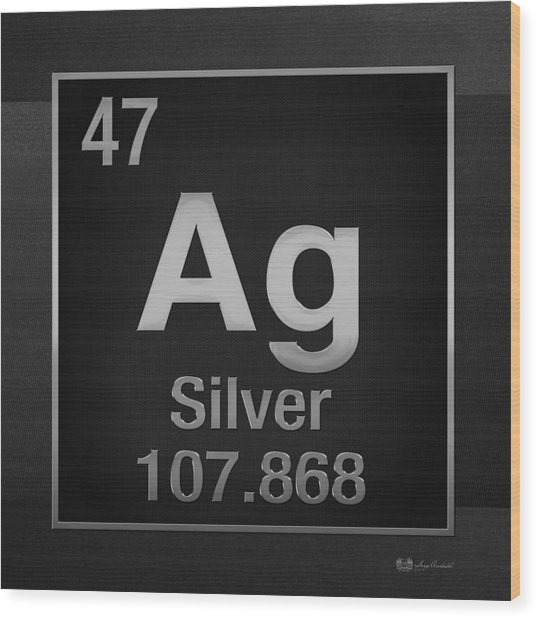 Periodic Table Of Elements - Silver - Ag - Silver On Black Wood Print