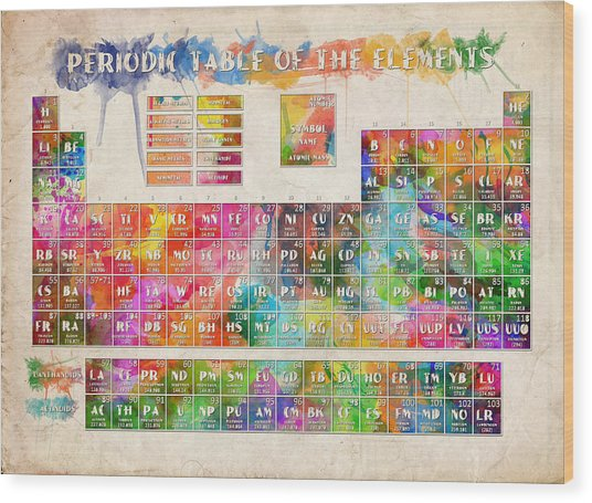 Periodic Table Of The Elements 10 Wood Print