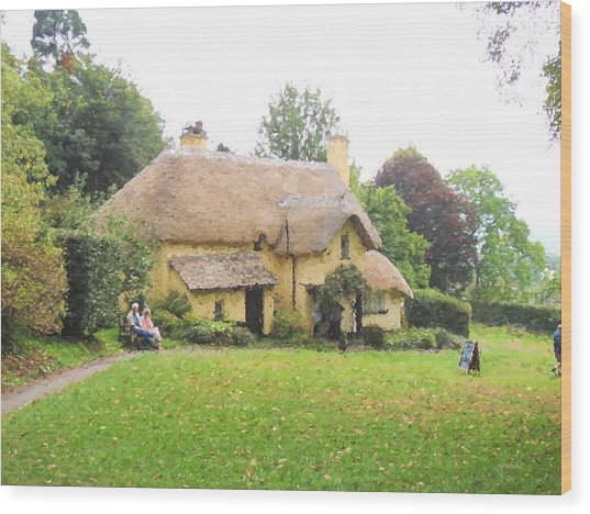 Periwinkle Cottage II Wood Print