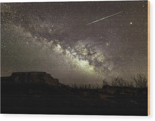Perseids Milky Way Wood Print