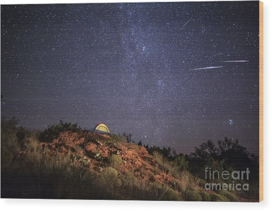 Perseids Over Caprock Canyons Wood Print