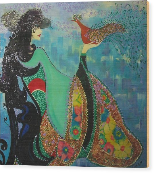 Persian Women With The Bird Wood Print