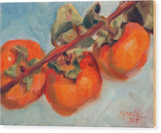 Persimmons Wood Print by Athena Mantle