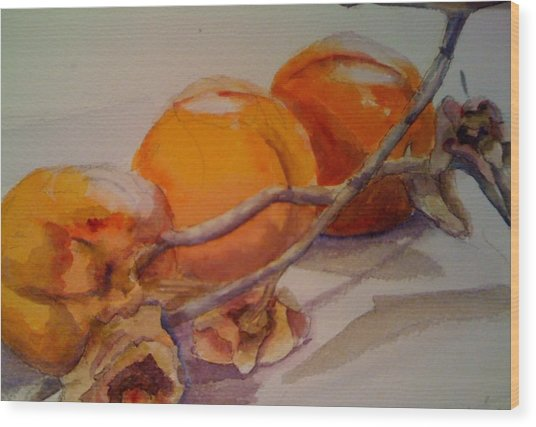 Persimmons Wood Print by KC Winters