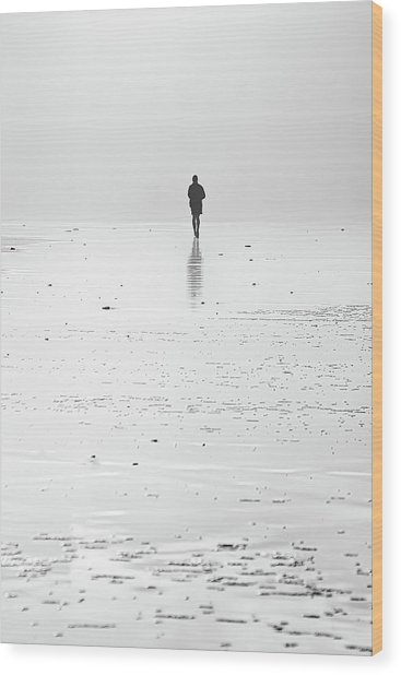 Person Running On Beach Wood Print