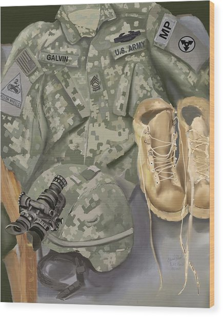 Personalized Art Designed By A Soldier For A Soldier Retiring Or Pcsing   Wood Print