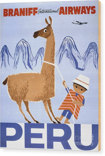 Peru Vintage Travel Poster Restored Wood Print