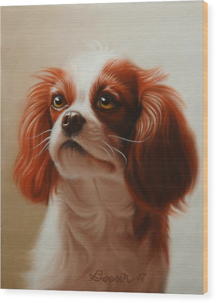 Pet Portrait Of A Cavalier King Charles Spaniel Wood Print by Eric Bossik