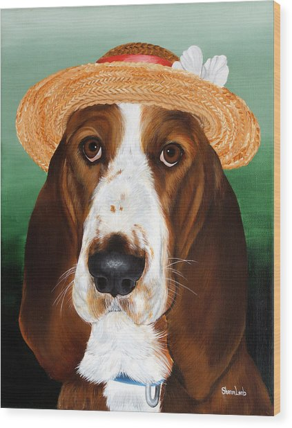 Pet Portrait Painting Commission Dogs Cats Horses  Wood Print by Sharon  Lamb