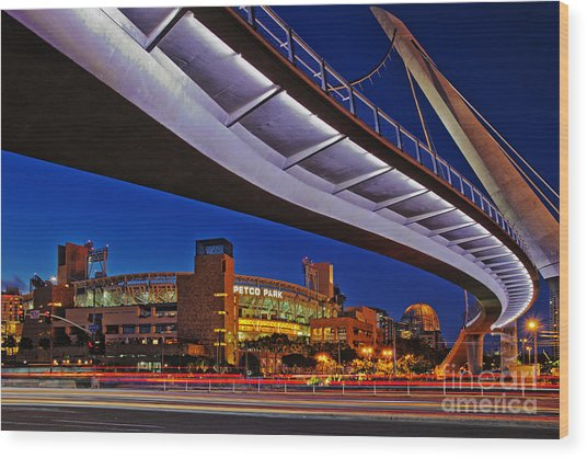 Petco Park And The Harbor Drive Pedestrian Bridge In Downtown San Diego  Wood Print