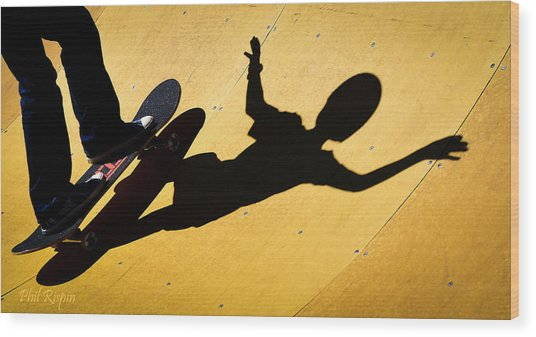 Peter Pan Skate Boarding Wood Print