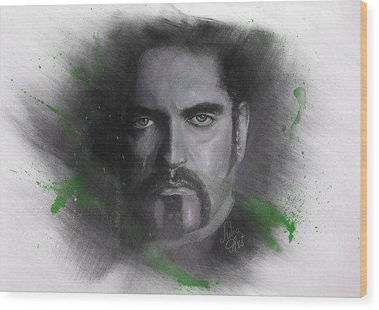 Wood Print featuring the drawing Peter Steele, Type O Negative by Julia Art