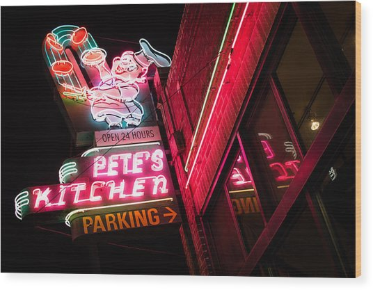 Pete's On Colfax Wood Print