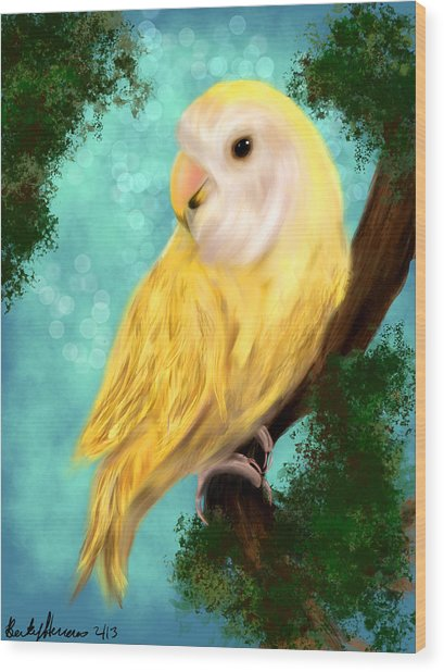 Petrie The Lovebird Wood Print