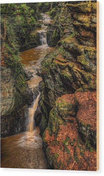 Pewits Nest Three Waterfalls Wood Print